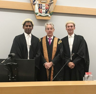 Dilshaan Mohanaraj with Justice Downs and WRMK Managing Director Wayne McKean